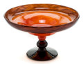 Art Glass:Schneider, CHARLES SCHNEIDER GLASS COUPE BIJOU . Cherry-red powderedglass with a violet footed base in powdered glass, ci...