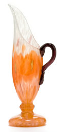 Art Glass:Schneider, CHARLES SCHNEIDER GLASS EWER. Orange and white powdered glass ewerwith yellow and violet powdered inclusions and violet ap...