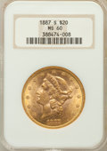 Liberty Double Eagles: , 1887-S $20 MS60 NGC. NGC Census: (100/535). PCGS Population(36/607). Mintage: 283,000. Numismedia Wsl. Price for problem f...