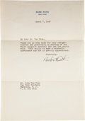 Autographs:Letters, 1947 Babe Ruth Signed Letter....