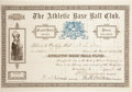 Baseball Collectibles:Others, 1889 Philadelphia Athletics Stock Certificate....