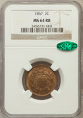 Two Cent Pieces: , 1867 2C MS64 Red and Brown NGC. CAC. NGC Census: (191/179). PCGSPopulation (178/53). Mintage: 2,938,750. Numismedia Wsl. P...