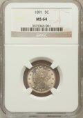 Liberty Nickels: , 1891 5C MS64 NGC. NGC Census: (152/77). PCGS Population (188/104).Mintage: 16,834,350. Numismedia Wsl. Price for problem f...