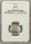 Liberty Nickels: , 1907 5C MS64 NGC. NGC Census: (211/92). PCGS Population (244/105).Mintage: 39,214,800. Numismedia Wsl. Price for problem f...