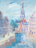 Impressionism & Modernism:Fauvism, JEAN DUFY (French, 1888-1964). Vue de la cathédrale àBruges, 1935. Watercolor on paper laid on board. 25 x 19 inches(6...
