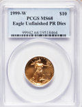 Modern Bullion Coins, 1999-W G$10 Quarter-Ounce Gold Eagle -- Struck From Unfinished Proof Dies -- MS68 PCGS....