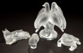 Art Glass:Lalique, A GROUP OF 4 LALIQUE GLASS FIGURES . Late 20th century. Marks: Lalique ® France. 8-1/2 inches high (21.6 cm) (birds). ... (Total: 4 Items)