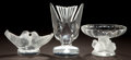 Art Glass:Lalique, THREE LALIQUE GLASS BIRD ITEMS . Late 20th century. Marks:Lalique France. 6-1/4 inches high (15.9 cm) (tallest). ...(Total: 3 Items)