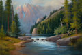 Fine Art - Painting, American, MILBIE BENGE (American, b. 1948). Mountain Lake, circa1980s. Oil on canvas. 24 x 36 inches (61.0 x 91.4 cm). Signedlow...