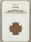 Indian Cents: , 1908-S 1C XF40 NGC. NGC Census: (292/1460). PCGS Population(260/822). Mintage: 1,115,000. Numismedia Wsl. Price for proble...