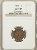 Indian Cents: , 1875 1C AU50 NGC. NGC Census: (26/458). PCGS Population (35/167).Mintage: 13,528,000. Numismedia Wsl. Price for problem fr...