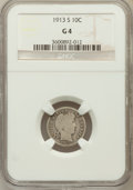Barber Dimes: , 1913-S 10C Good 4 NGC. NGC Census: (15/138). PCGS Population(6/298). Mintage: 510,000. Numismedia Wsl. Price for problem f...