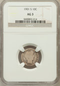 Barber Dimes: , 1901-S 10C AG3 NGC. NGC Census: (0/104). PCGS Population (4/169).Mintage: 593,022. Numismedia Wsl. Price for problem free ...