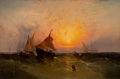 Fine Art - Painting, American:Antique  (Pre 1900), EDWARD MORAN (American, 1829-1901). Ships at Sunset (New YorkHarbor Sunset), circa 1872. Oil on canvas. 30 x 45-1/2 inc...