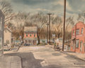 Fine Art - Painting, American:Modern  (1900 1949)  , HENRY MARTIN GASSER (American, 1909-1981). Wintry Day in a RiverTown (Possibly Lambertville, New Jersey), circa 1940s. ...