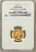 Three Dollar Gold Pieces: , 1859 $3 -- Improperly Cleaned -- NGC Details. AU. NGC Census:(34/430). PCGS Population (51/276). Mintage: 15,558. Numismed...