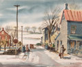 Fine Art - Painting, American:Modern  (1900 1949)  , HENRY MARTIN GASSER (American, 1909-1981). Bright Winter Morningin a Small Town, circa 1940s. Watercolor and pencil on ...