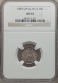 Seated Dimes, 1856 10C Small Date MS65 NGC. Fortin-110....