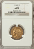 Indian Half Eagles: , 1911-S $5 AU50 NGC. NGC Census: (62/2252). PCGS Population(126/1438). Mintage: 1,416,000. Numismedia Wsl. Price for proble...