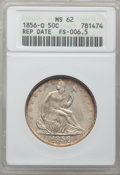Seated Half Dollars, 1856-O 50C Repunched Date MS62 ANACS. WB-102, FS-301....