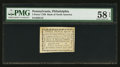 Colonial Notes:Pennsylvania, Pennsylvania Bank of North America, Philadelphia August 6, 1789$3/90 PMG Choice About Unc 58 EPQ.. ...