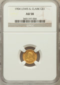 Commemorative Gold: , 1904 G$1 Lewis and Clark AU58 NGC. NGC Census: (42/1114). PCGSPopulation (111/1728). Mintage: 10,025. Numismedia Wsl. Pric...