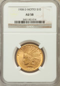 Indian Eagles: , 1908-D $10 Motto AU58 NGC. NGC Census: (205/390). PCGS Population(146/392). Mintage: 836,500. Numismedia Wsl. Price for pr...