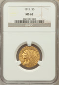 Indian Half Eagles: , 1911 $5 MS62 NGC. NGC Census: (3231/1344). PCGS Population(2106/1357). Mintage: 915,000. Numismedia Wsl. Price for problem...