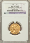 Indian Half Eagles: , 1911 $5 -- Improperly Cleaned -- NGC Details. Unc. NGC Census:(343/7409). PCGS Population (207/4378). Mintage: 915,000. Nu...