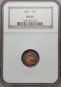 Seated Dimes, 1851 10C MS64 NGC....