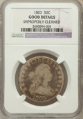 Early Half Dollars: , 1803 50C Large 3 -- Improperly Cleaned -- NGC Details. Good. NGCCensus: (2/1049). PCGS Population (1/415). Mintage: 188,23...