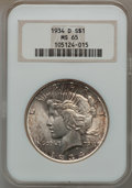 Peace Dollars, 1934-D $1 MS65 NGC....