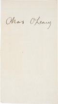 Autographs:Index Cards, Circa 1927 Charles O'Leary Signed Index Card....