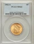 Liberty Half Eagles: , 1902-S $5 MS64 PCGS. PCGS Population (452/142). NGC Census:(506/177). Mintage: 939,000. Numismedia Wsl. Price for problem ...