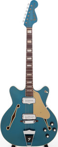 Musical Instruments:Electric Guitars, 1972 Fender Coronado II Lake Placid Blue Semi-Hollow Body ElectricGuitar, Serial # 502095....