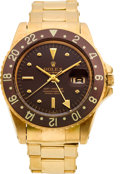 Timepieces:Wristwatch, Rolex Gold Ref. 1675 GMT Master With Box & Papers, circa 1969. ...