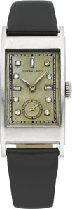Timepieces:Wristwatch, Patek Philippe Platinum Diamond Dial Watch For Tiffany & Co.,circa 1940. ...
