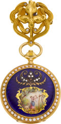 Timepieces:Pendant , Longines Gold & Enamel Pendant Watch With Pin, circa 1905. ...