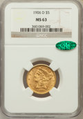 Liberty Half Eagles: , 1906-D $5 MS63 NGC. CAC. NGC Census: (594/394). PCGS Population(547/311). Mintage: 320,000. Numismedia Wsl. Price for prob...