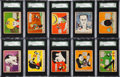 "Non-Sport Cards:Sets, Rare 1935 R90 ""Mickey Mouse with the Movie Stars"" SGC-GradedPartial Set (10/24). ..."