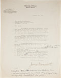 Basketball Collectibles:Others, 1930 James Naismith Signed Typed Letter. ...