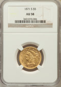 Liberty Half Eagles: , 1871-S $5 AU58 NGC. NGC Census: (14/2). PCGS Population (6/3). Mintage: 25,000. Numismedia Wsl. Price for problem free NGC/...