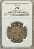 Barber Half Dollars: , 1907 50C VF30 NGC. NGC Census: (4/241). PCGS Population (14/346).Mintage: 2,598,575. Numismedia Wsl. Price for problem fre...