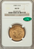 Indian Eagles, 1908-S $10 AU55 NGC. CAC....