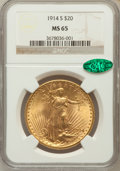 Saint-Gaudens Double Eagles, 1914-S $20 MS65 NGC. CAC....