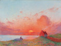 Fine Art - Painting, European:Other , FERNAND PUIGAUDEAU (French, 1864-1930). Coucher de soleil, prèsdu Croisic. Oil on canvas. 20 x 25-3/4 inches (50.8 x 65...(Total: 2 Items)