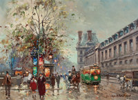 ANTOINE BLANCHARD (French, 1910-1988) Paris Street Scene Oil on canvas 13 x 18 inches (33.0 x 45