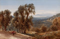 Fine Art - Painting, European:Antique  (Pre 1900), BERNARD WALTER EVANS (British, 1848-1922). A View from Grasse, South France, 1892. Watercolor on paper. 18 x 27-1/2 inch...