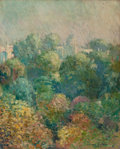 Fine Art - Painting, American:Modern  (1900 1949)  , EDMUND WILLIAM GREACEN (American, 1877-1949). Tree Tops fromBoulevard Raspail, Paris, 1906. Oil on canvas laid on mason...