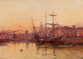 Fine Art - Painting, European:Other , EUGÈNE GALIEN- LALOUE (French, 1854-1941). Voiliers à quai enNormandie. Oil on canvas. 18 x 25-1/2 inches (45.7 x 64.8 ...(Total: 2 Items)